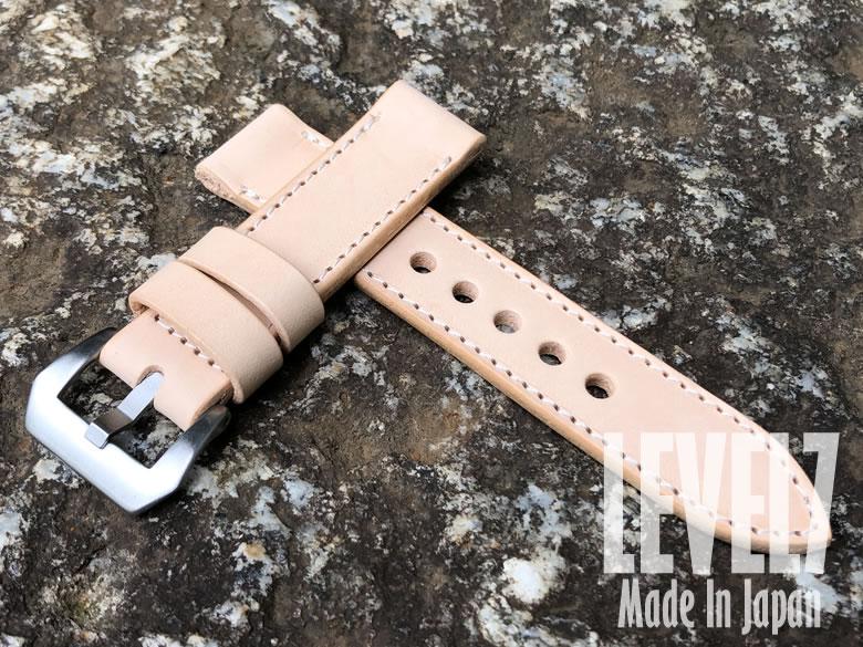 イタリア製の生成りのヌメ革を使用した腕時計替えベルト