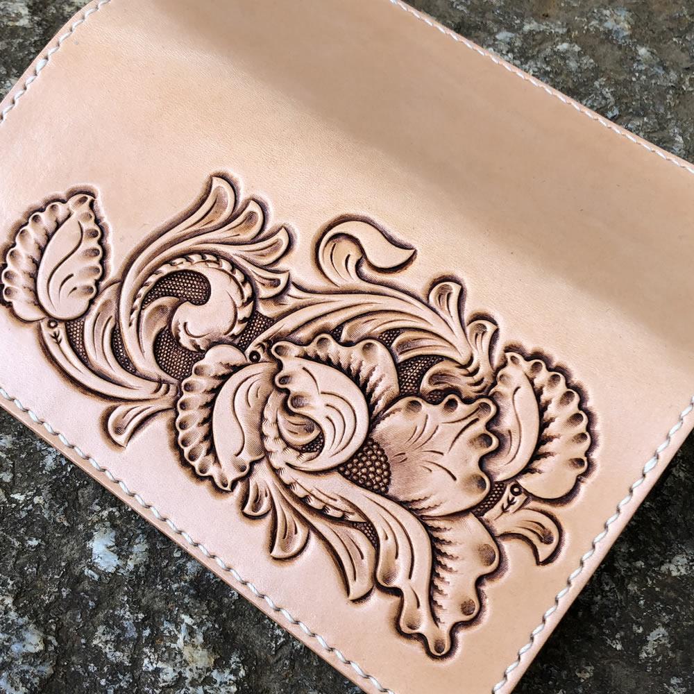 長財布/ハンドメイドロングウォレット アリゾナ フラワーカービング 手縫い イタリアンレザー ヌメ革 本革 日本製 LW-FC1-1 LEVEL7