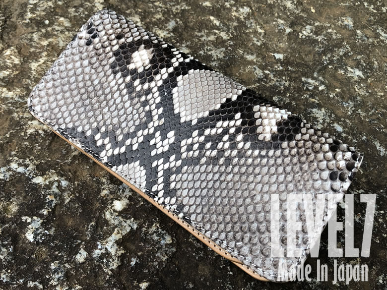 長財布 ロングウォレット ダイヤモンドパイソン本革 手縫い 日本製 LEVEL7