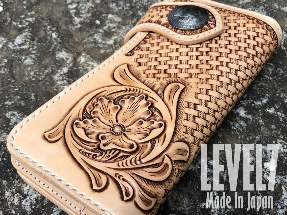 長財布 バイカーズロングウォレット フラワーカービング 手縫い イタリアンレザー ヌメ革 日本製 LEVEL7